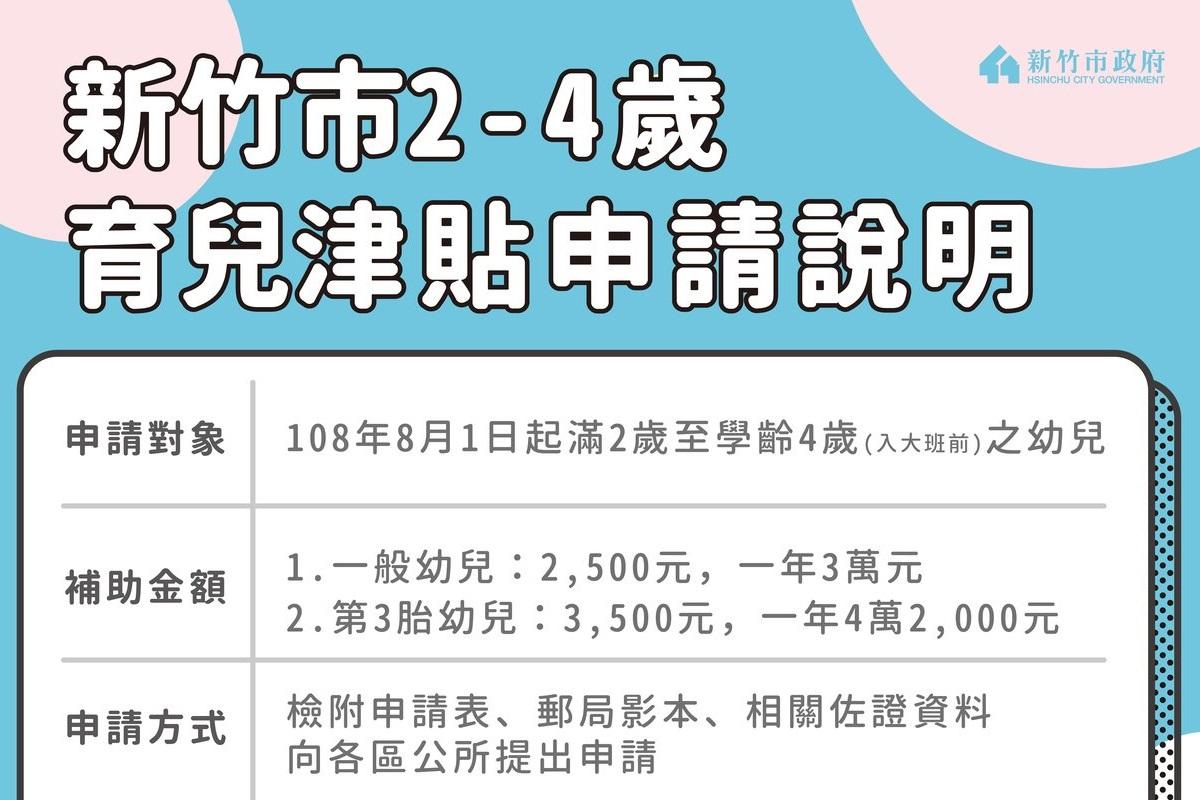新竹市2-4歲育兒津貼8月1日起受理 1萬6千個家庭受惠